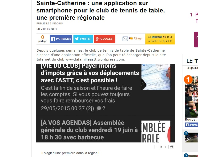 Presse l application officielle de l astt l honneur - Ligue du nord pas de calais de tennis de table ...