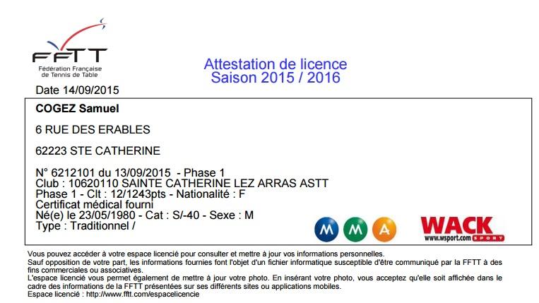 licence fftt